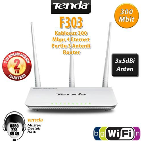 Tenda F303 4Port WiFi-N 300Mbps Router 3 Anten